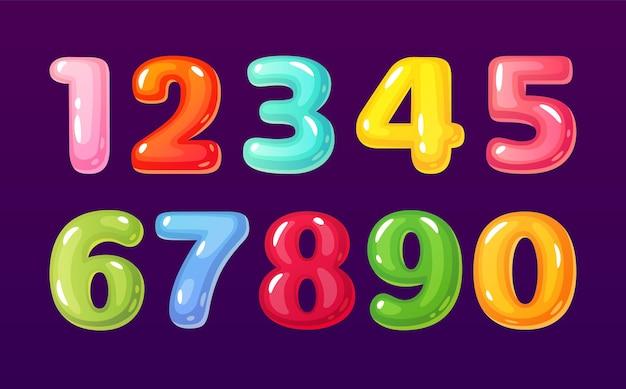 Cartoon-zahlen nette comic-blasen-alphabet mathematische symbole