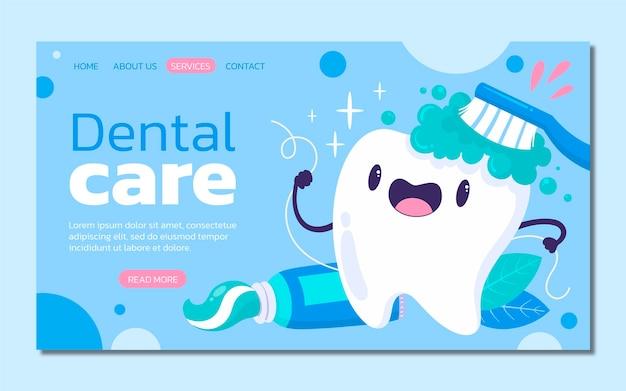 Cartoon-zahnpflege-zielseitenvorlage