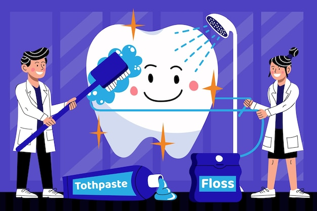 Cartoon-zahnpflegekonzept