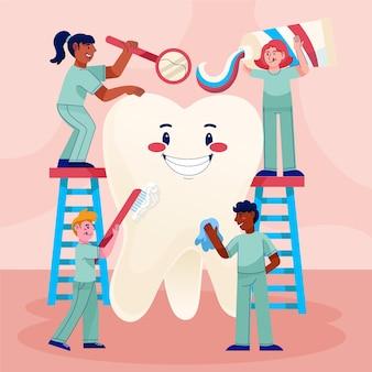 Cartoon-zahnpflegekonzeptillustration