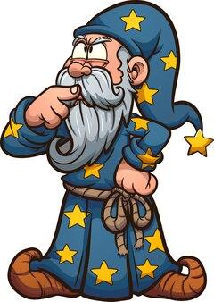 Cartoon-zauberer, der mit dem finger an seinem mund hart denkt. illustration