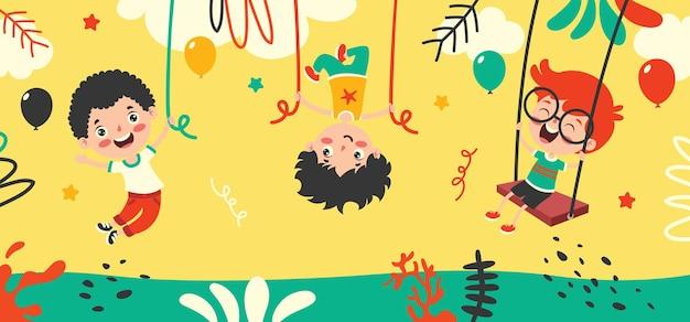 Cartoon-zeichnung eines glücklichen charakters schwingend