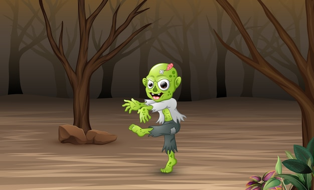 Cartoon zombies im toten wald