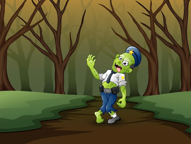 Cartoon zombies polizei neben tunnel