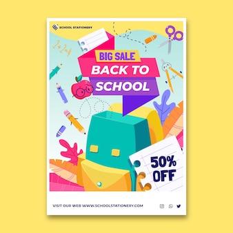 Cartoon zurück zur schule vertikale verkaufs-flyer-vorlage