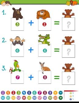 Cartoon-zusatz-lernspiel mit tieren