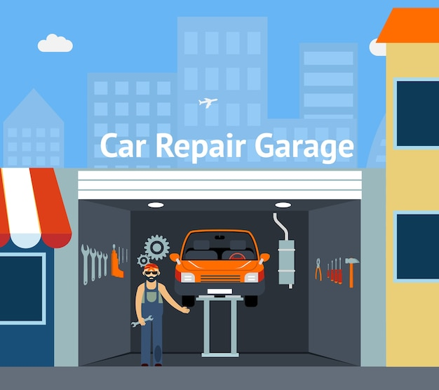Cartooned car repair garage mit beschilderung illustration mit repairman