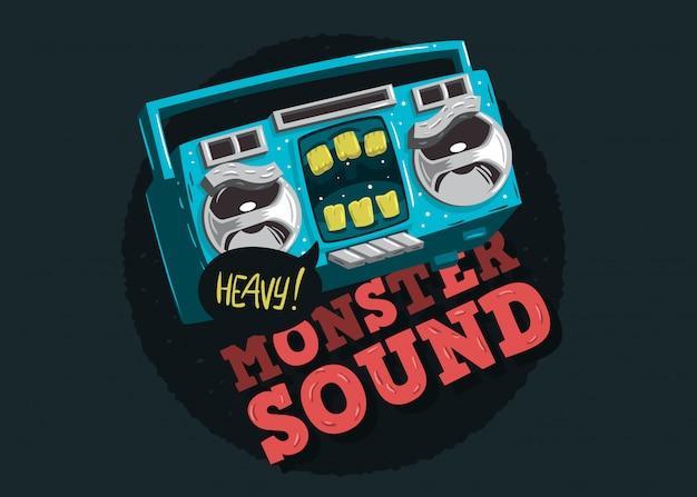 Cartooned funny monster kassettenband charakter musik design wi
