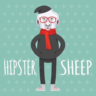 Cartooned hipster sheep in der flachen artillustration auf hellgrünem hintergrund