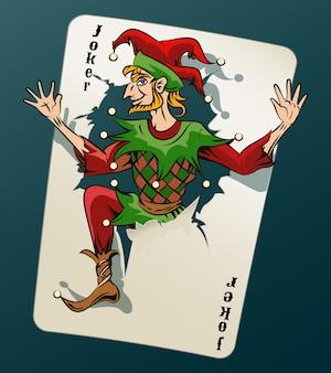 Cartooned joker, der aus der spielkarte auf blau-grünem hintergrund herausspringt.