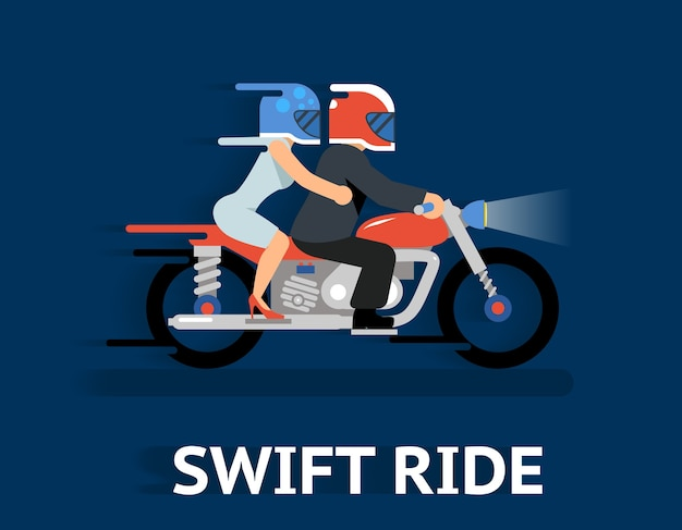 Cartooned swift ride concept illustration.
