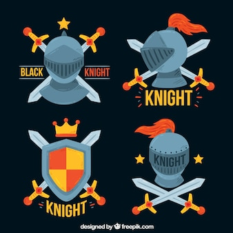 Cartoonische embleme der ritter