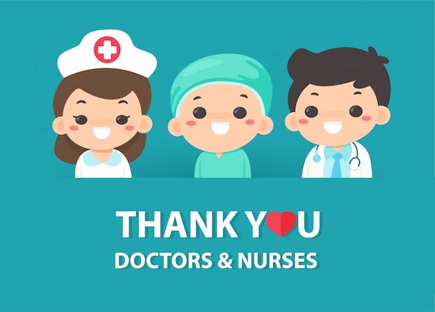 Cartoons danken den ärzten und krankenschwestern, die hart im kampf gegen das koronavirus arbeiten.