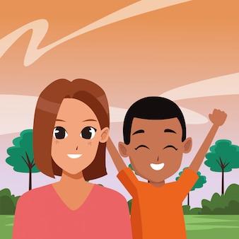 Cartoons für familieneltern und kinder