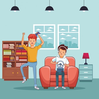 Cartoons mit millennials und videospielen in schwarz und weiß