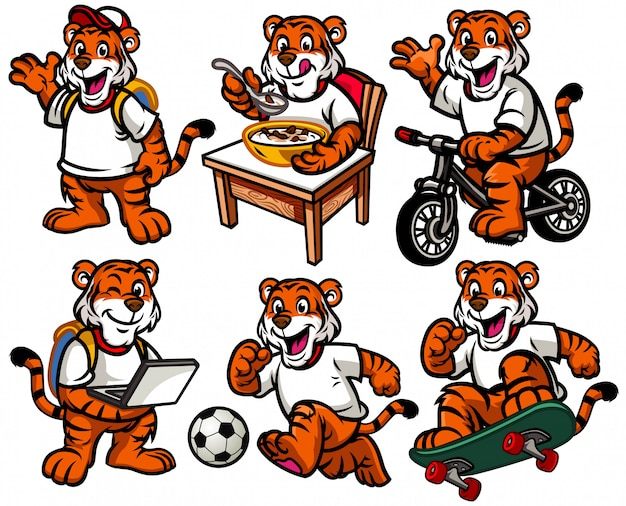 Cartoonzeichensatz des netten kleinen tigers