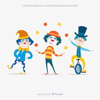 Cartooon karneval charaktere tragen kostüme