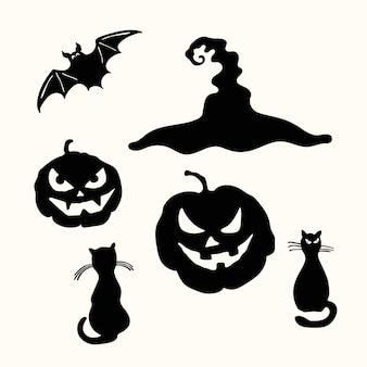 Carving gesicht kürbislaterne, schwarze katze, hexenhut und fledermaus halloween-schablone isoliert auf weiß