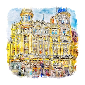 Casa de allende madrid aquarell skizze hand gezeichnete illustration