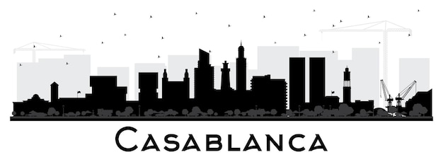 Casablanca marokko city skyline silhouette mit schwarzen gebäuden, isoliert auf weiss. vektor-illustration. geschäftsreisen und konzept mit historischer architektur. casablanca-stadtbild mit sehenswürdigkeiten.