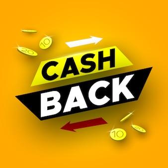 Cash back banner mit münzen. illustration.