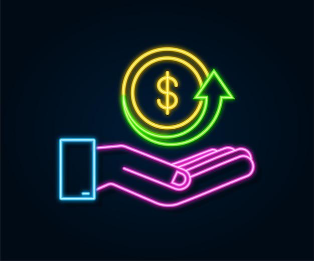 Cash-back-münzen-neon-symbol mit hand isoliert auf weißem hintergrund cash-back- oder geldrückerstattungsetikett