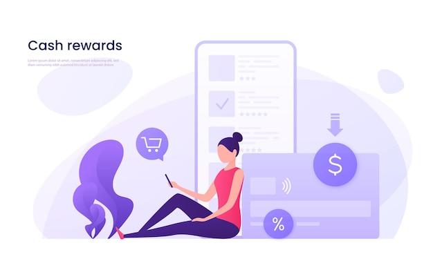 Cash-back-programm mit kreditkartenkonzept.