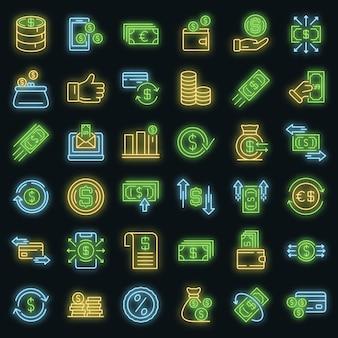 Cash-back-symbole gesetzt. umrisse von cash-back-vektorsymbolen neonfarben auf schwarz