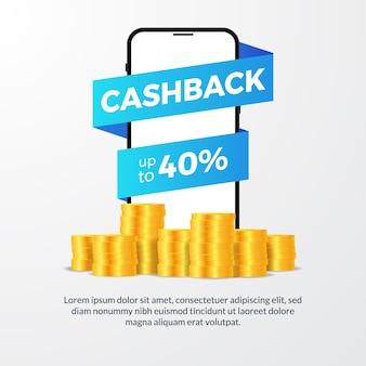 Cashback-aktion mit telefon- und goldmünzenillustration