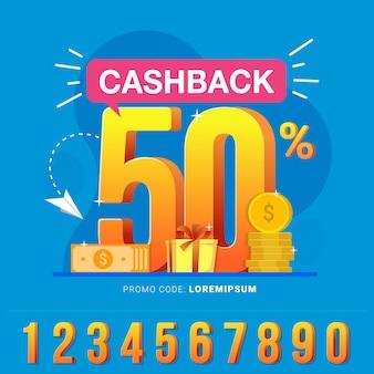 Cashback banner-design-konzept zum sparen und geld erstatten