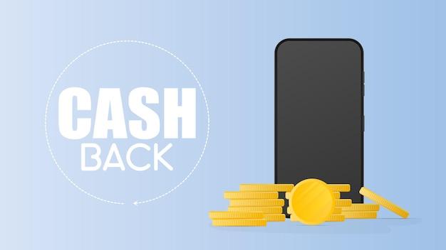 Cashback-banner. realistische telefon- und goldmünzen. modernes smartphone