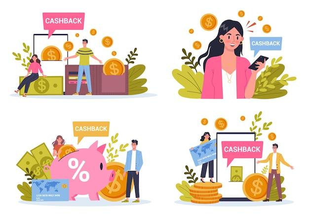 Cashback. bezahlen sie für waren und erhalten sie bargeld zurück. idee, geld und wirtschaftlichkeit zu sparen.