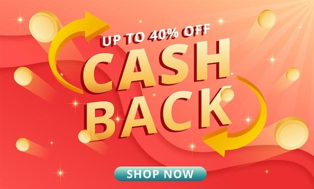 Cashback bietet banner mit fliegenden münzen