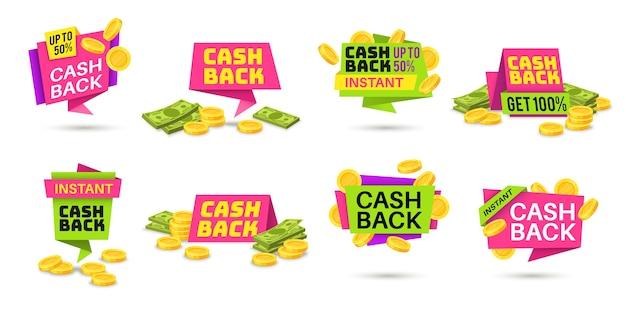 Cashback-etiketten. bunte cashback-symbole, geldrückerstattungsabzeichen mit münzen und banknoten