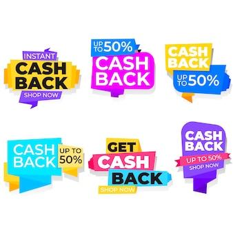 Cashback-etiketten design 50% rabatt