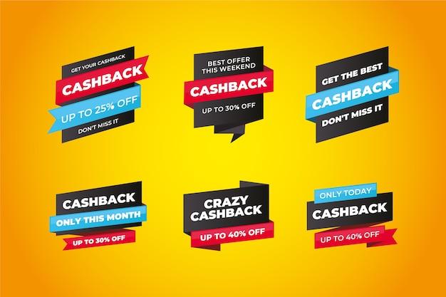 Cashback-etiketten-design mit rabatten