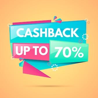 Cashback-etiketten mit 70% rabatt