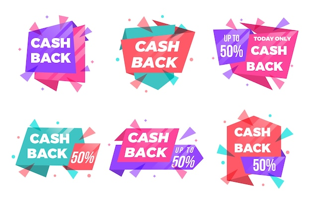 Cashback-etiketten und abzeichen in verschiedenen formen