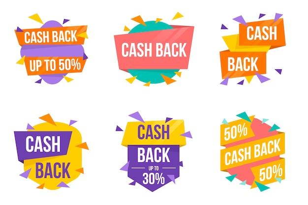 Cashback-etiketten und abzeichen mit warmen farben
