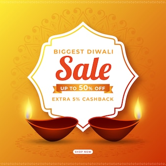 Cashback für diwali biggest sale poster design