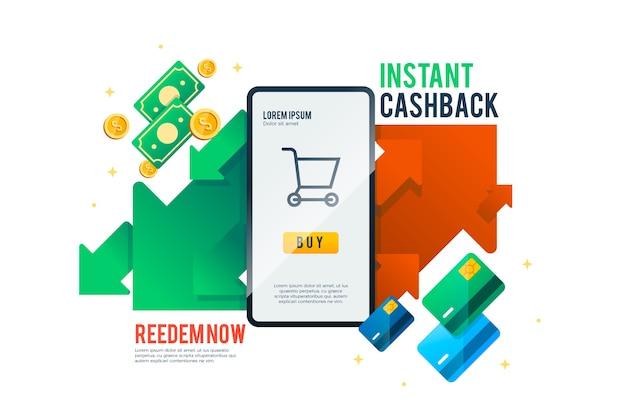 Cashback-konzept app-oberfläche