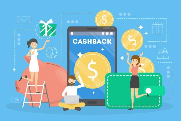Cashback-konzept. geld fällt vom handy