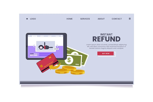 Cashback-konzept landing page illustriert