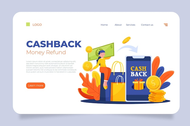 Cashback-konzept - landing page