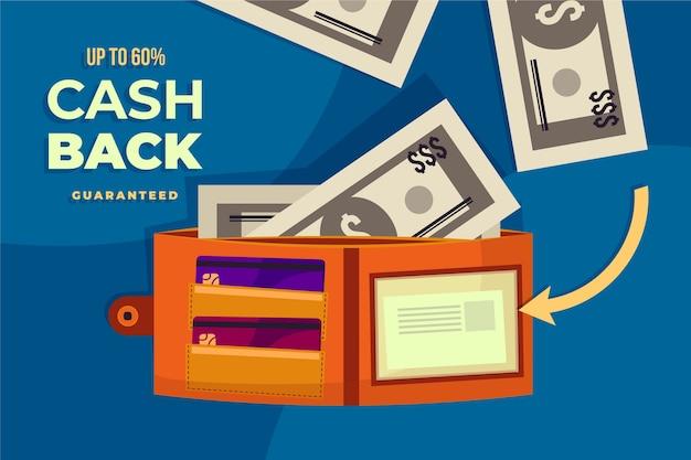 Cashback-konzept mit offener brieftasche