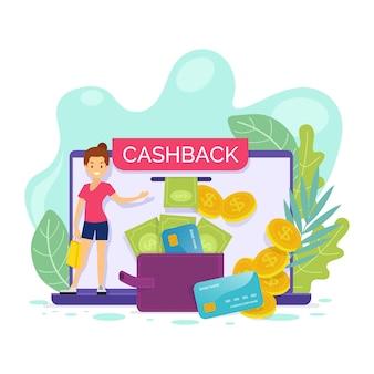Cashback-konzept mit rabatt