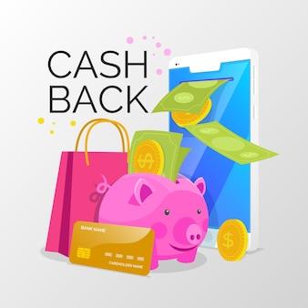 Cashback-konzept mit sparschwein und rabatt