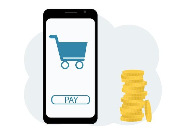 Cashback-konzept. vektor-illustration eines mobiltelefons mit einem bild einer karte, in der nähe eines haufens münzen. online einkaufen