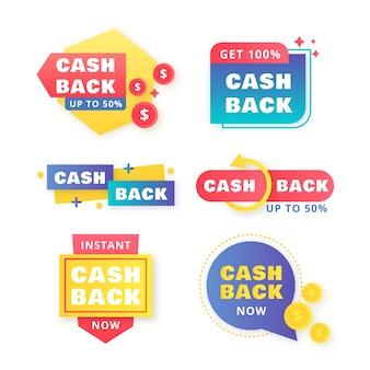 Cashback-label-sammlungskonzept