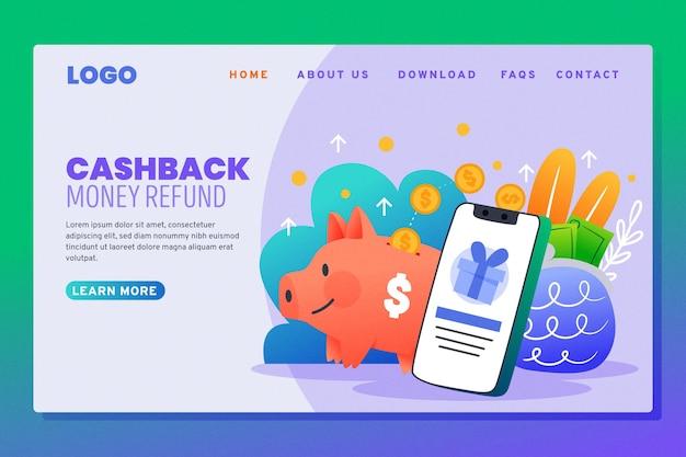 Cashback landing page und sparschwein